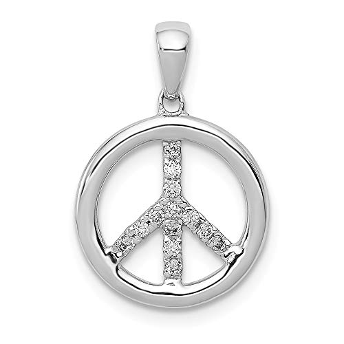 14K White Gold Diamond Peace Sign Pendant, 14 kt White Gold