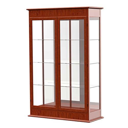 Waddell Varsity Hinged Doors Lighted Display Case, 48W by 77H by 18''D, Mirror Back with Cherry Oak Finish by Waddell