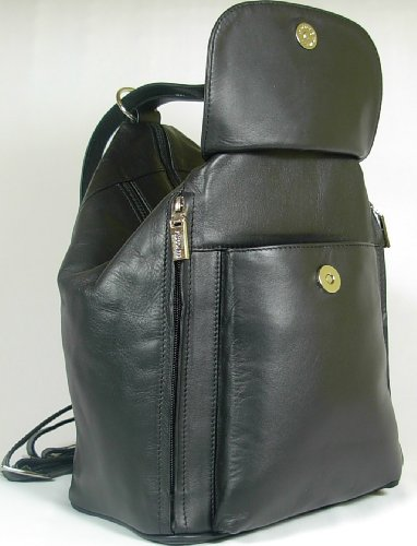 Backpack Black Soft Gorgeous New 18357 Girls Style Bag Leather ladies Visconti PBRBCq