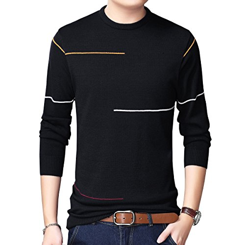 Womleys Mens Casual Striped Crewneck Pullover Sweater Cotton Knitwear (US Large, - Cotton Striped Sweater