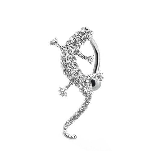 Lizard Belly Navel Ring (Belly Ring Reverse Crystal Clear Lizard 14G Upside Down Belly Retainer)