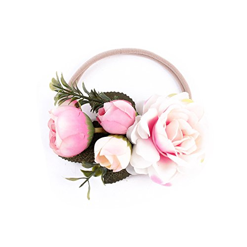 DDazzling Flower Baby and Newborn Girls Headband Floral Crown Photo Props (Pink) for $<!--$8.99-->