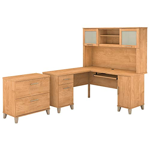 Bush Furniture Somerset 60W L Shaped Desk with Hutch and Lateral File Cabinet in Maple Cross ()