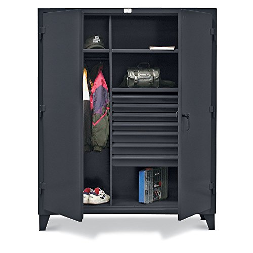 """Strong Hold Combination Wardrobe Cabinet With Drawers - 48""""Wx24""""Dx78""""H - 7 Drawers - Dark Gray - Dark Gray"""
