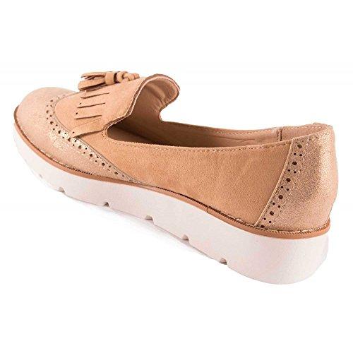 QOUJEILY - Zapatillas de Material Sintético para mujer, color rosa, talla 36 2/3 EU