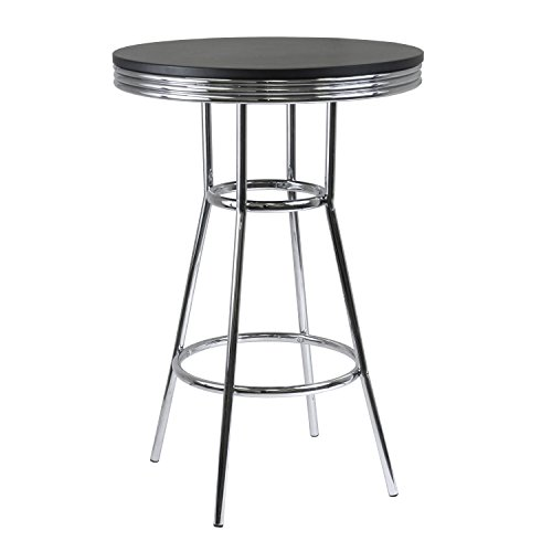Metal Retro Round Table - Winsome Wood Summit Pub Table with Metal Legs, MDF Black Top