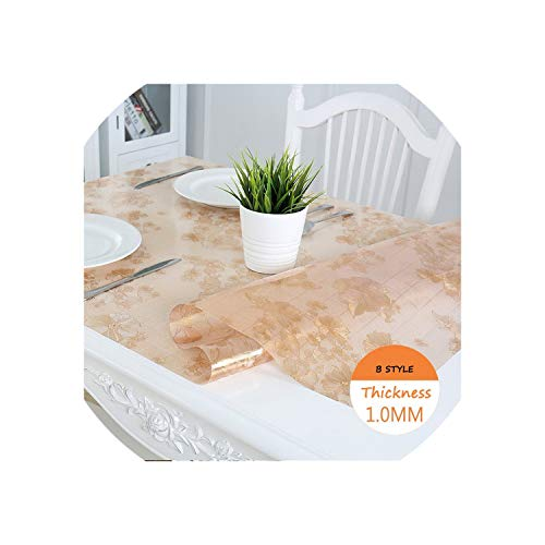 See Something PVC Tablecloth Waterproof Tablecloth Floral Clear Rectangular Transparent PVC Anti-oilproof Table mat Coffee Table Cloth,B Golden Rich Flower,80x130cm -
