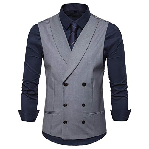 HSada Men's Suit Vest Casual Solid Double Breasted Waistcoat V-Neck Formal Business Dress Tank Top for Suit or Tuxedo