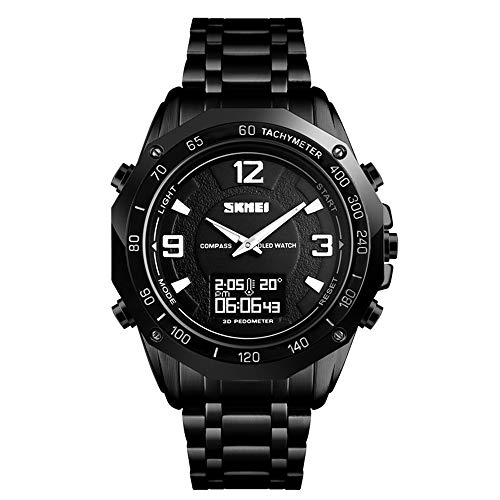 Mens Compass Pedometer Watch, Analog Digital Sports Watch with Temperature Stopwatch Timer Waterproof Black Stainless Steel Band