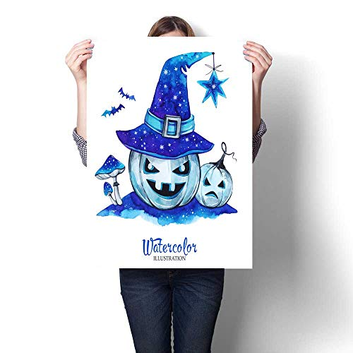 (Anshesix Canvas Wall Art for Bedroom Home Decorations Hand Painted Lantern Halloween Pumpkins with Magic hat and amanitas Scary Monsters for Home Decoration No Frame)