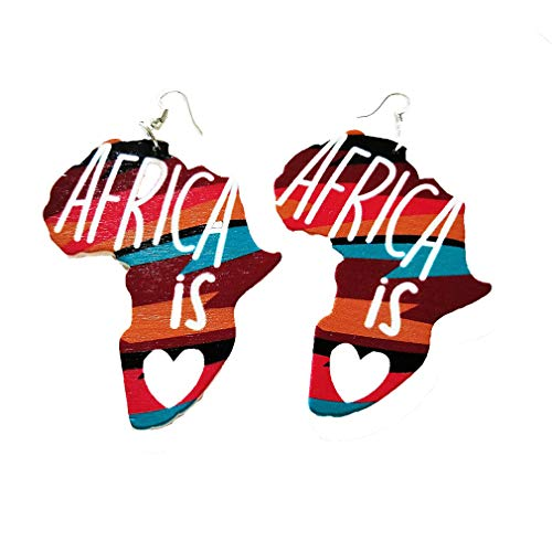 YESMAEA African Wooden Earring African Jewelry Wood Earrings Fashion Earrings for Women And Girls,Color map