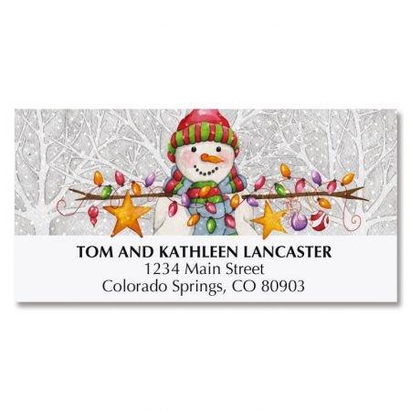 Winter Friends Christmas Return Address Labels- Set of 48 Flat Sheet, Self Adhesive Address Stickers