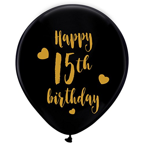 15 Anos Party Decorations (Black 15th Birthday Latex Balloons, 12inch (16pcs) Boy Girl Gold Happy 15th Birthday Party Decorations)