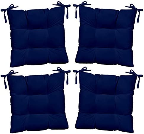 Resort Spa Home Decor Set of 4 – Indoor Outdoor Solid Blue Universal Tufted Seat Cushions with Ties for Dining Patio Chairs – Choose Size 18 x 17