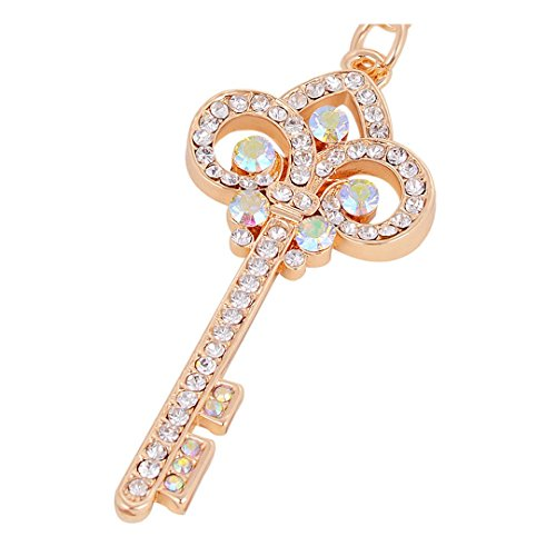 Gold Plated Key Ring Exquisite Rhinestone Keychain Bag & Car Accessory (colorful)
