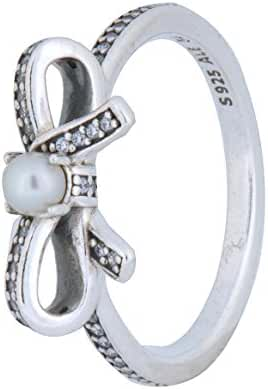 Pandora Sterling Silver Delicate Sentiments White Pearl Ring with Clear Cubic Zirconia 190971P-54