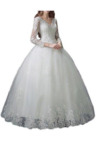 Victory Bridal Huebsch Prinzessin Spitze Brautkleider Hochzeitskleider Bodenlang mit Aermel