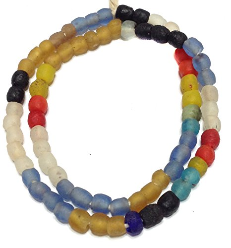 Fair Trade Glass - Transparent matte mixed Ghana Round Krobo Recycled Glass African trade beads - Strand of Eco-Friendly Fair Trade Beads from Ghana
