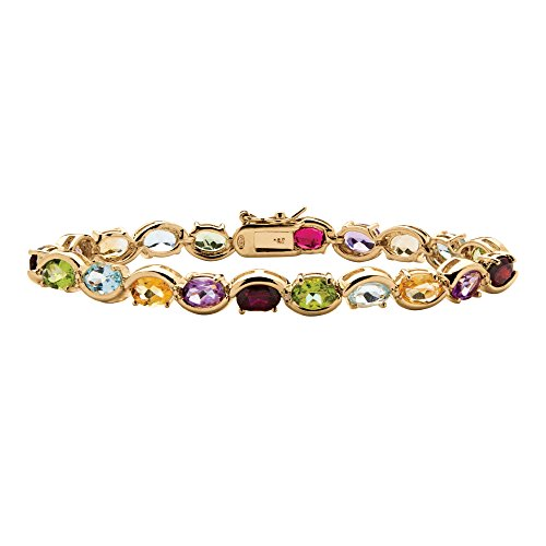 Oval Genuine Multi-Gemstone Diamond Accent 18k Gold over .925 Silver Tennis Bracelet 7""