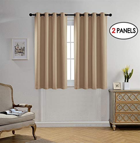 MIUCO Blackout Curtains Room Darkening Curtains Textured Grommet Window Curtains for Bedroom 2 Panels 52x63 Inch Long Taupe