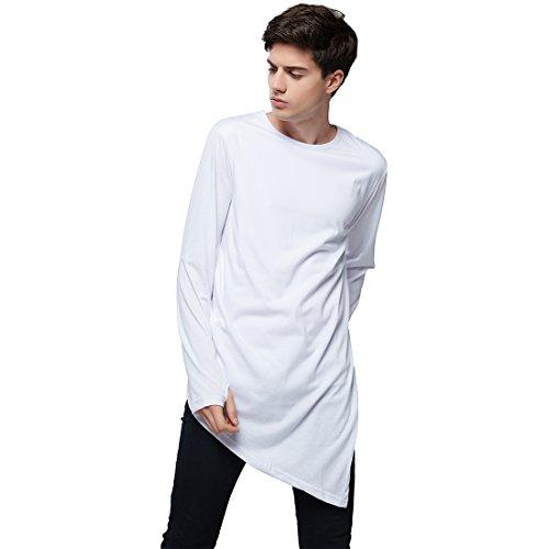 Jamickiki Men's Fashion Long Sleeve Pure Color Hip Hop Style Long T-shirt