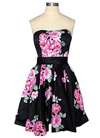 Dearta Women's A-Line Strapless Short Mini Floral Printed Homecoming Gown US 16