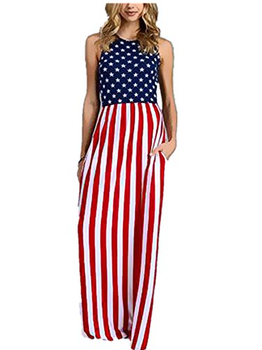 Xuan2Xuan3 Women 4th July Patriotic Flag Independence Day Stars and Stripes USA Long Maxi (Patriotic Dresses)