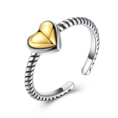 efigo Fashion Cuff Heart Ring Diamond Cubic Zirconia Rings 14k Gold Promise Rings for Women/Teen Girls ()