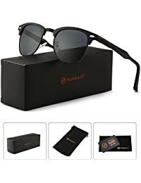 Classic Half Frame Clubmaster Sunglasses with Polarized Lens
