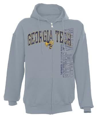 NCAA Georgia Tech Yellowjackets Men's Dri-Power Fleece Full Zip Hood (Oxford, Small)
