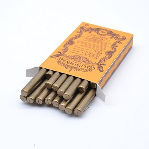 Classic Antique Copper Sealing Wax Stick in Box Vintage Bronze Wax Seal Stick for DIY Wedding Invitation Decoration - 16 Pcs from TELOSMA