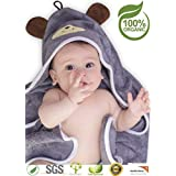 Premium Hooded Baby Towel, 100% Organic Bamboo, Free Baby Bib, Perfect Baby Shower Gift, 35x35 for Newborns Infants Toddlers & Kids, for Boys and Girls at Bath Pool & Beach, Better Than Cotton (Gray)