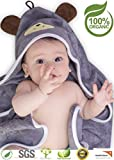 """Premium Hooded Baby Towel, 100% Organic Bamboo, Free Baby Bib or Gloves, Baby Shower Gift, 35x35"""" for Newborns Infants Toddlers & Kids, for Boys and Girls at Bath Pool/Beach, Better Than Cotton(Gray)"""