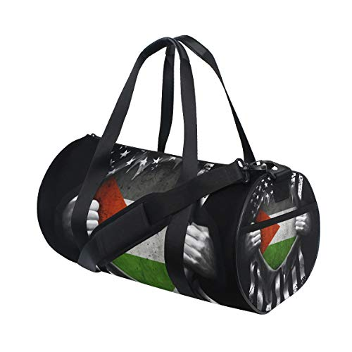 Sports Gym Bag with Palestinian American Usa Flag Print, Travel Weekender Duffle Bag for Men Women
