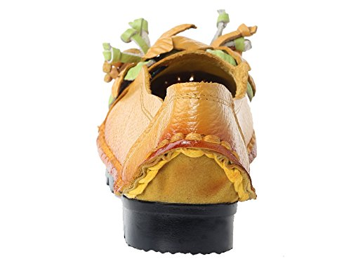Mordeniss Frauen fallen neue flache Blumenmuster Schuhe Stil 2-gelb