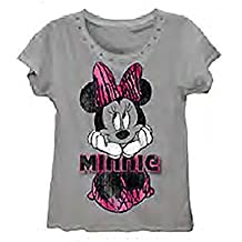 Disney Minnie Mouse 'Minnie Sitting' Womens Fashio top T Shirt - Heather Gray