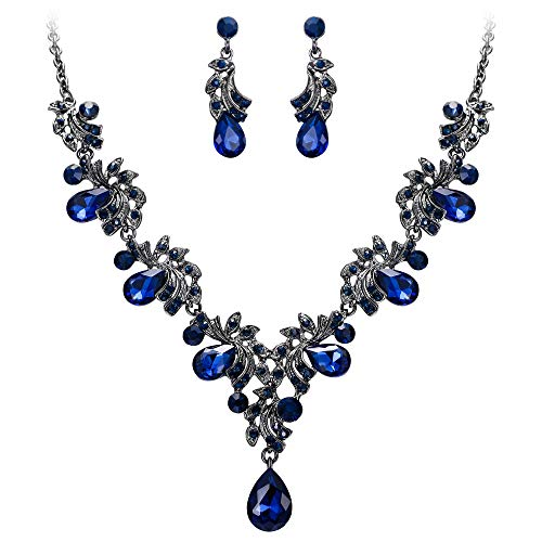 BriLove Wedding Bridal Necklace Earrings Jewelry Set
