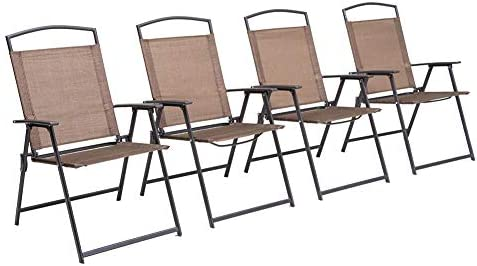 Crestlive Products Set of 4 Patio Folding Chairs 4-Pack Dining Chairs Outdoor Portable Sling
