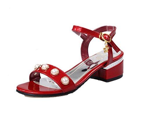 AalarDom Women's Kitten-Heels Patent Leather Open-Toe Sandals, Red,