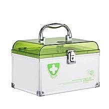 """AZDENT Portable 6 Compartments Storage Box Medicine Organizer 8.46""""X5.87""""X5.51"""" Medicine Box with Lock Green"""