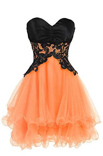 Orange Homecoming Dresses (Ellames Sweetheart Cocktail Short Prom Homecoming Party Dresses For Juniors Orange US 10)