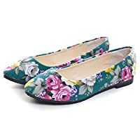 Dear Time Women Slip On Floral Flats Shoes Rose Green US 9