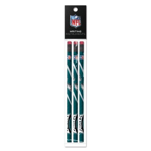 Eagles Pencil - Philadelphia Eagles 3 Pack Wood Pencil in Clear Bag with Header - NFL (12005-QUV)