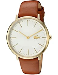 Lacoste Womens Quartz Gold-Tone and Leather Casual Watch, Color:Brown (Model: 2000947)