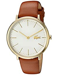Lacoste Women's Quartz Gold-Tone and Leather Automatic Watch, Color: Brown (Model: 2000947)