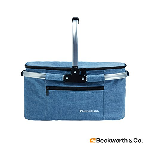 Beckworth & Co.. SmartFold Picnic Basket - Foldable Collapsible Insulated Picnic Basket 32L - Blue