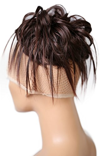 PRETTYSHOP Hairpiece Hair Rubber Scrunchie Scrunchy Updos VOLUMINOUS Wavy Messy Bun dark brown # 2T33 G7F