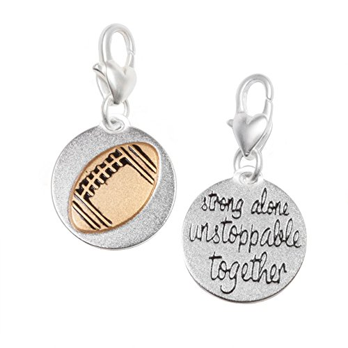 (Amanda Blu Football Charm Sport | Strong Alone Unstoppable Together | Silver 2-Tone Medallion | Women)