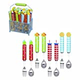 Grasslands Road Studio 100 Splash of Color Beach 7-1/4-Inch Forks & Spoons Set with Caddy Six Styles, Set of 24