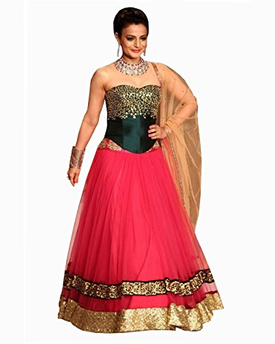 Amisha Patel Net Pink Lehenga